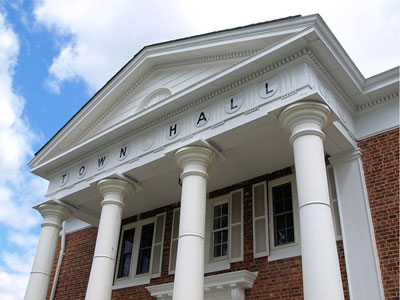 The exterior of a town hall building